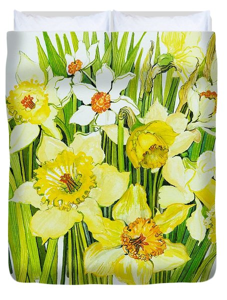 Daffodils And Narcissus Duvet Cover by Joan Thewsey