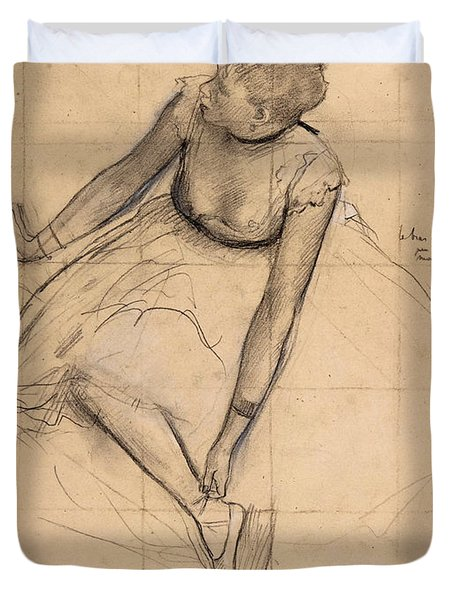 Dancer Adjusting Her Slipper Duvet Cover