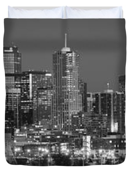 Duvet Cover featuring the photograph  Denver Skyline At Dusk Black And White Bw Evening Extra Wide Panorama Broncos  by Jon Holiday