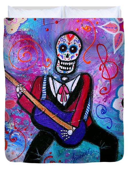 Dia De Los Muertos Musician Duvet Cover