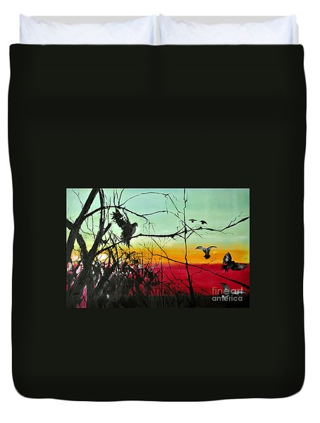 Doves At The Dawn Duvet Cover