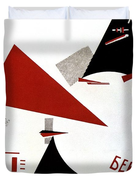 Drive Red Wedges In White Troops 1920 Duvet Cover by Lazar Lissitzky