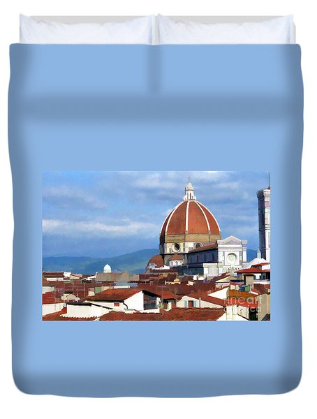 Duvet Cover featuring the photograph  Duomo Of Florence # 3 by Allen Beatty