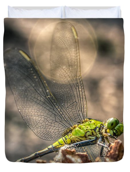 Duvet Cover featuring the photograph  Erythemis Simplicicollis by Rob Sellers