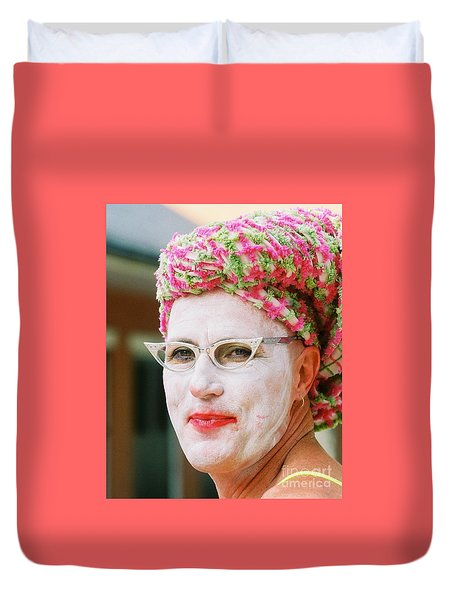 Duvet Cover featuring the photograph  Eye See Colours Of Noxie Noxzema At The Southern Decadence In New Orleans Louisiana by Michael Hoard