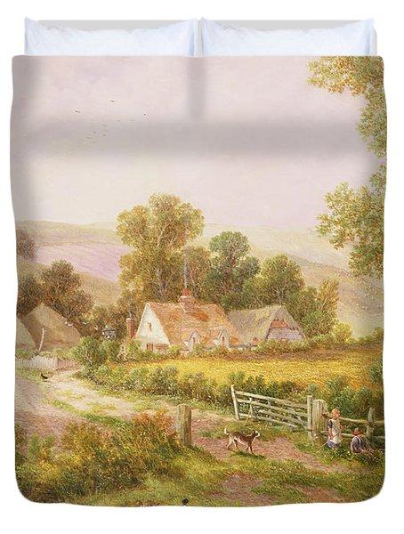 Farmyard Scene Duvet Cover by C L Boes