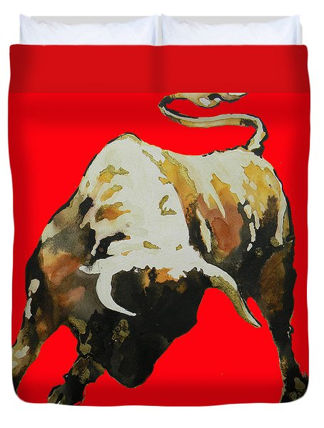 Fight Bull In Red Duvet Cover