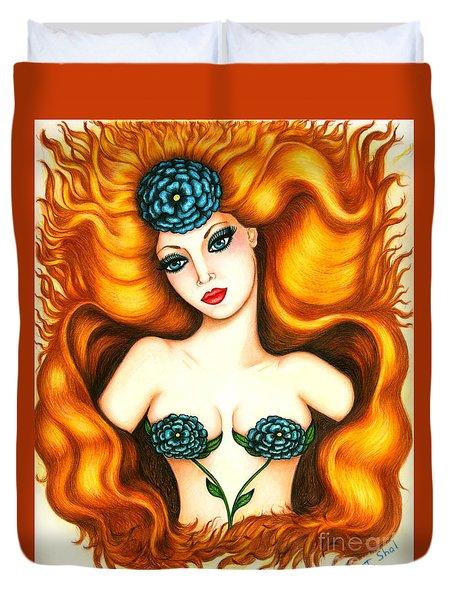 Flower In The Blaze Duvet Cover