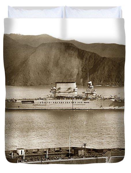 U. S. S. Lexington Cv-2 Fort Point Golden Gate San Francisco Bay California 1928 Duvet Cover