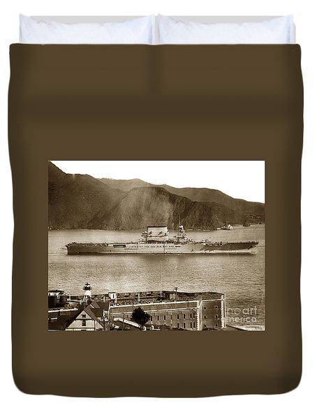 U.s.s. Lexington Cv-2 Fort Point Golden Gate San Francisco Bay California 1928 Duvet Cover by California Views Mr Pat Hathaway Archives