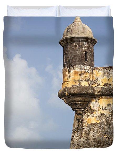 Fortified Walls And Sentry Box Of Fort San Felipe Del Morro Duvet Cover