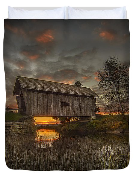 Foster Covered Bridge Sunset Duvet Cover