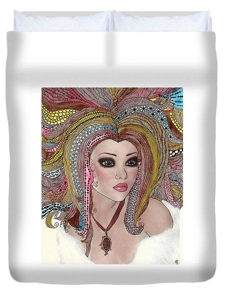 Girl With The Rainbow Hair Duvet Cover