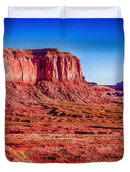 Golden Hour Sunrise In Monument Valley Duvet Cover by Bob and Nadine Johnston