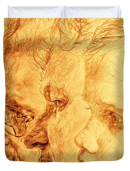 Have Your 3 Generations Drawn Or Painted Duvet Cover by PainterArtistFINs Husband MAESTRO