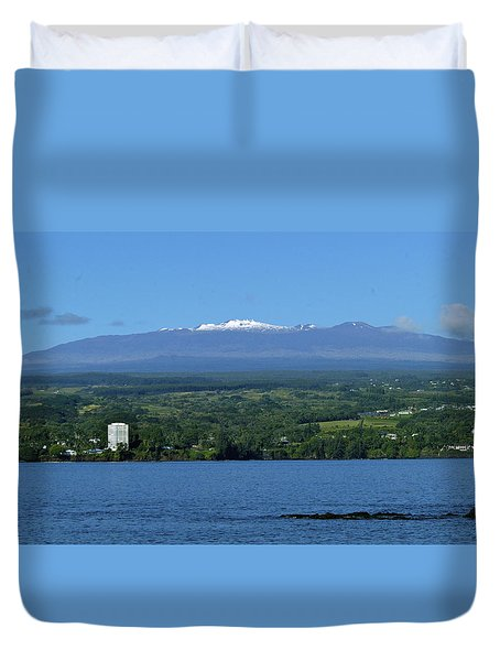 Hawaii's Snow Above Hilo Bay Hawaii Duvet Cover