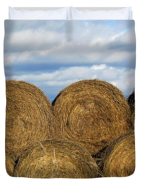 Duvet Cover featuring the photograph  Hay  by France Laliberte