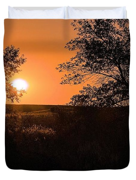 Hayfield At Night Duvet Cover