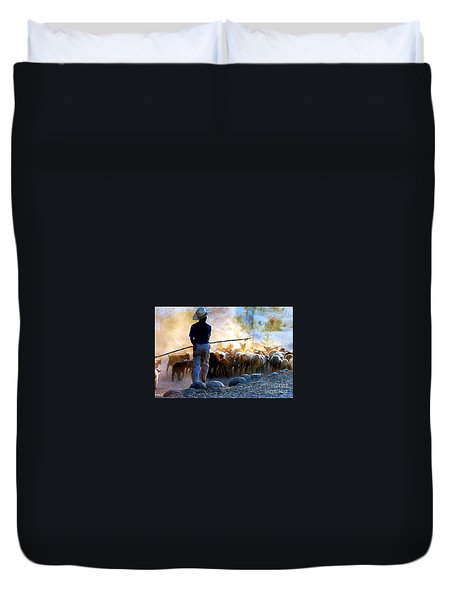Herder Going Home In Mexico Duvet Cover