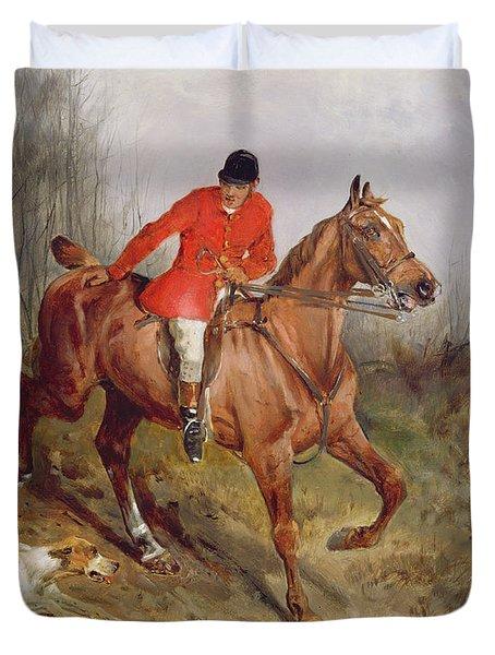Hunting Scene Duvet Cover by John Alfred  Wheeler