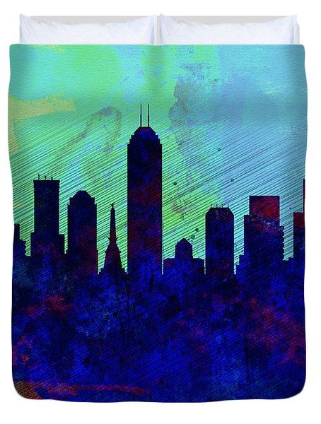 IIndianapolis Watercolor Skyline Duvet Cover