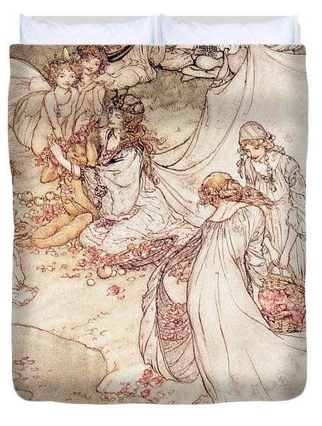 Illustration For A Fairy Tale Fairy Queen Covering A Child With Blossom Duvet Cover