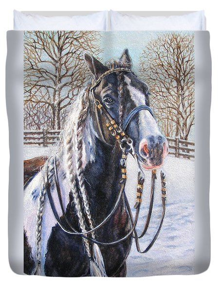 I'm Ready For The Ribbons Gypsy Vanner Horse Duvet Cover