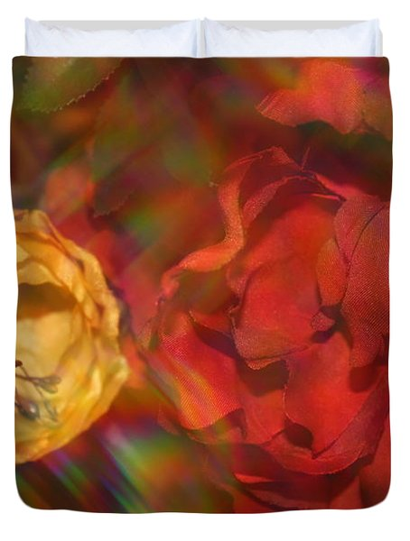 Duvet Cover featuring the photograph  Impressionistic Bouquet Of Red Flowers by Dora Sofia Caputo Photographic Art and Design
