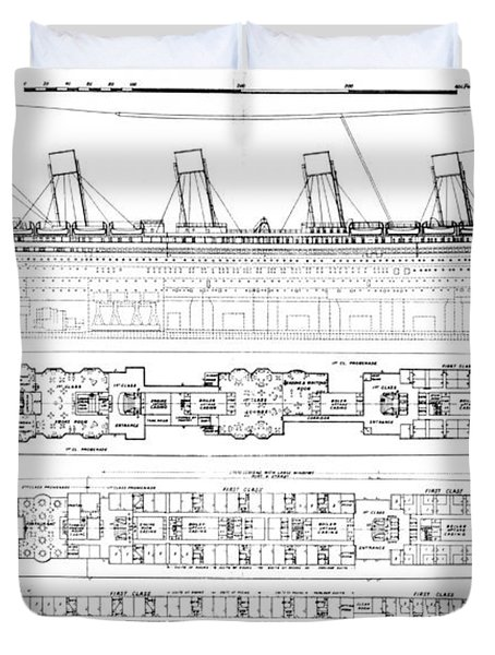 Inquiry Into The Loss Of The Titanic Cross Sections Of The Ship  Duvet Cover by English School