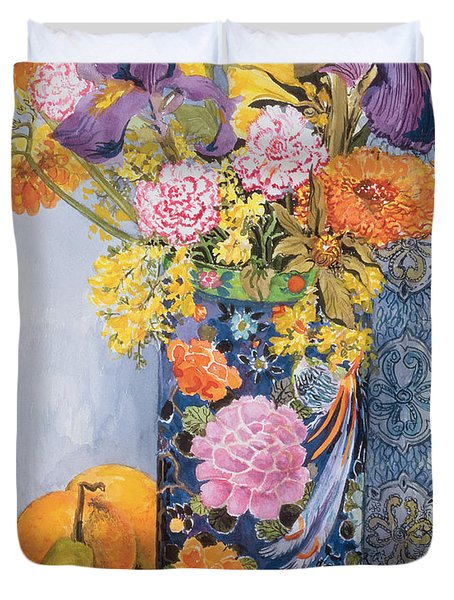 Iris And Pinks In A Japanese Vase With Pears Duvet Cover by Joan Thewsey