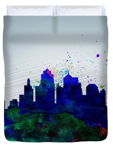 Kansas City Watercolor Skyline Duvet Cover