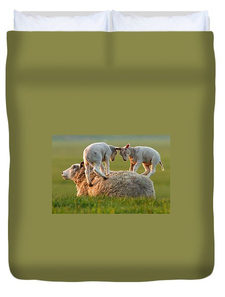 Leap Sheeping Lambs Duvet Cover
