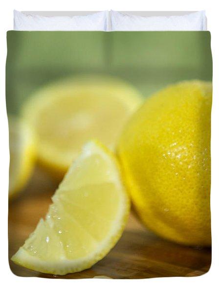 Lemon Citrus Limon Zitronen Duvet Cover by Iris Richardson