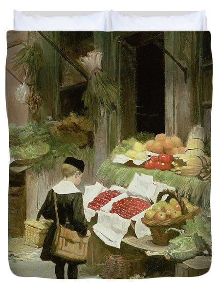 Little Boy At The Market Duvet Cover by Victor Gabriel Gilbert