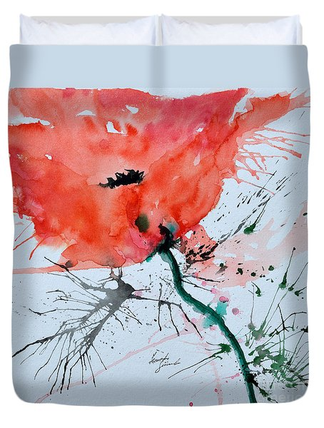Lonely Poppy Duvet Cover