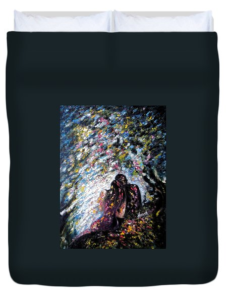 Duvet Cover featuring the painting  Love In Niagara Fall by Harsh Malik