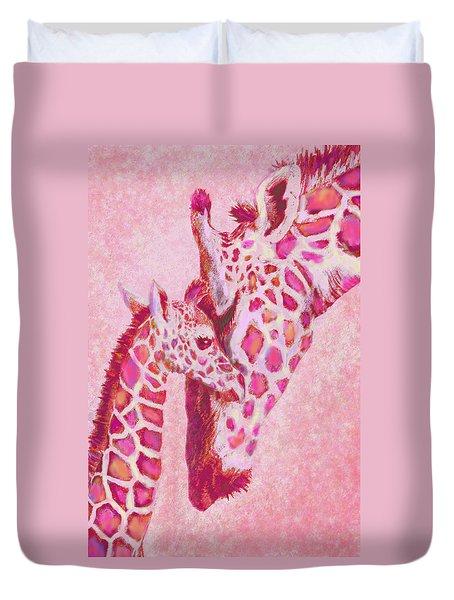 Loving Pink Giraffes Duvet Cover