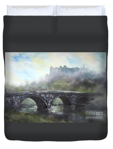 Ludlow Castle In A Mist Duvet Cover