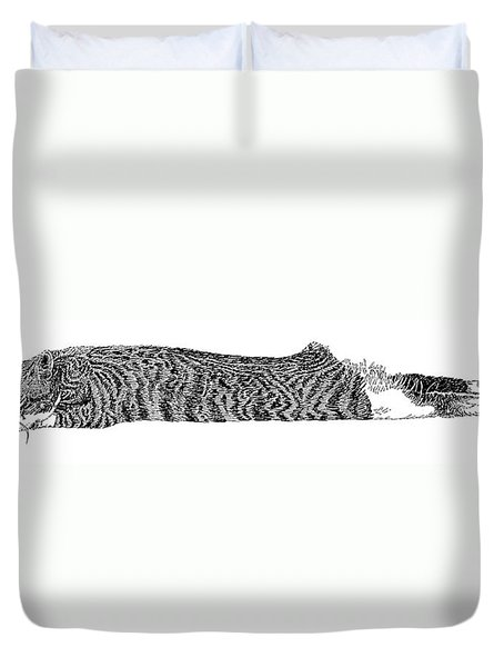 Skippy The Manx Cat Sleeping Duvet Cover by Jack Pumphrey