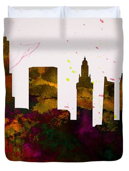 Miami City Skyline Duvet Cover by Naxart Studio
