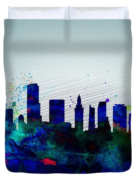 Miami Watercolor Skyline Duvet Cover