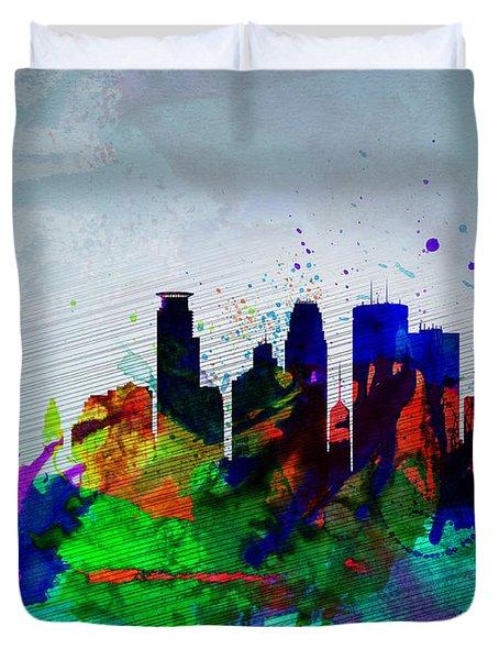 Minneapolis Watercolor Skyline Duvet Cover