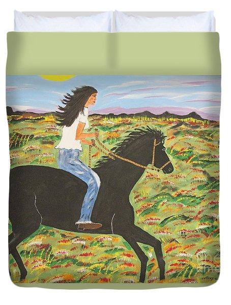 Morning Bareback Ride Duvet Cover