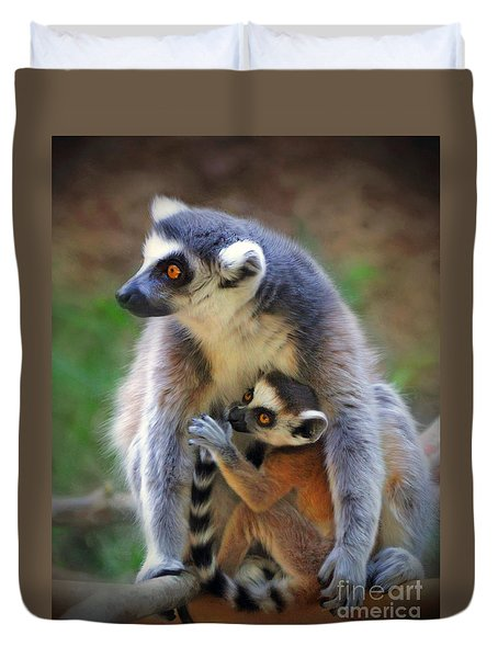 Duvet Cover featuring the photograph    Mother And Baby Monkey by Savannah Gibbs
