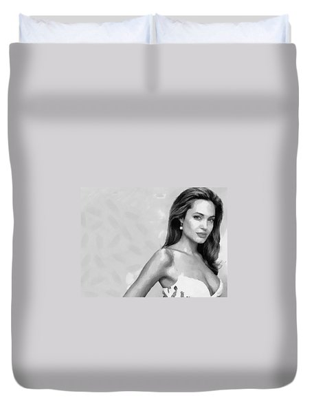 Movie Star Angelina Jolie Black And White Duvet Cover