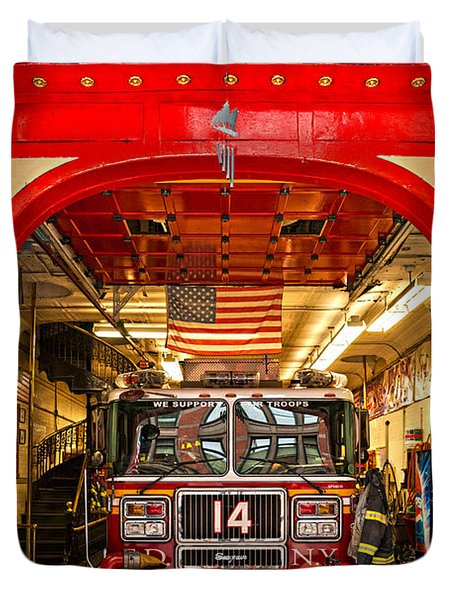 New York Fire Department Engine 14 Duvet Cover by Luciano Mortula