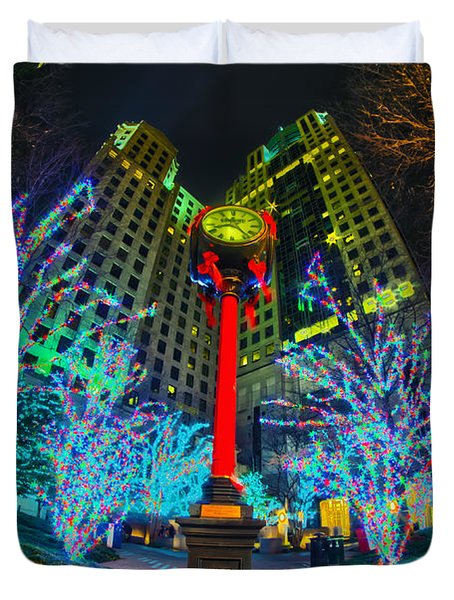 Nightlife Around Charlotte During Christmas Duvet Cover