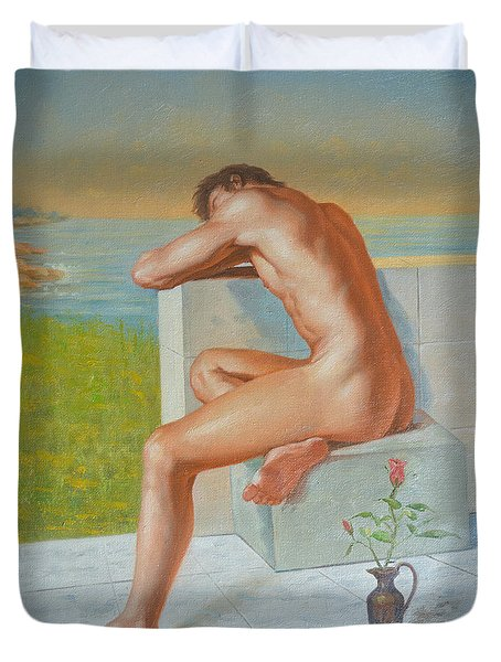 Original Classic Oil Painting Man Body Art  Male Nude And Vase #16-2-4-09 Duvet Cover by Hongtao     Huang