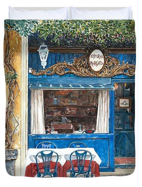 Osteria Margutta Rome Italy Duvet Cover by Anthony Butera