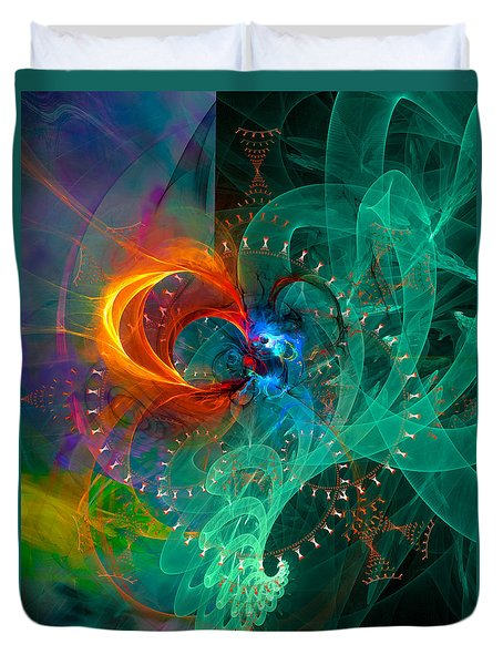 Parallel Reality - Colorful Digital Abstract Art Duvet Cover by Modern Art Prints